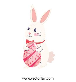 happy easter season card with cute rabbit wearing bowtie and egg painted