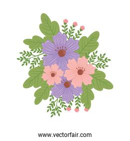 cute purple and pink floral spring decoration
