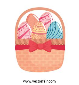 happy easter season card with eggs painted in basket