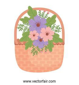 cute purple and pink floral spring decoration in basket