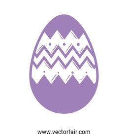 happy easter season lilac color egg painted line style icon