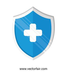blue color shield with medical cross icon