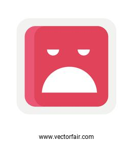 red emoji square sad face icon