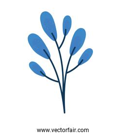 branch with blue leafs plant spring icon