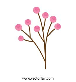 branch with pink seeds spring icon