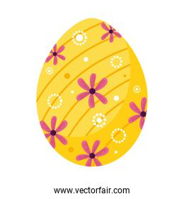 happy easter yellow egg paint with flowers