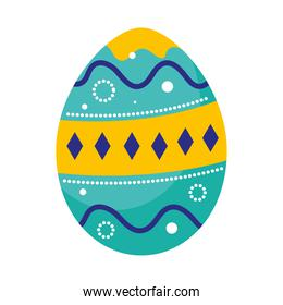 happy easter blue and yellow egg paint icon