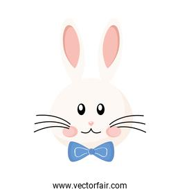 cute easter rabbit with bowtie head character