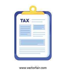 tax day documents in clipboard icon