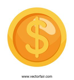 coin cash dollar money isolated icon