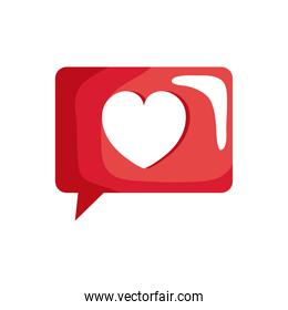 speech bubble with heart social media icon