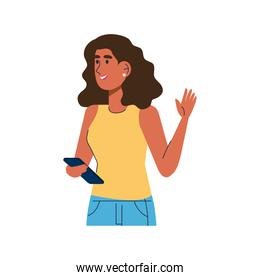 young brunette woman standing using smartphone
