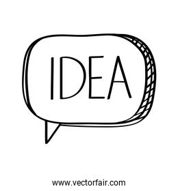 speech bubble with idea word social media doodle style icon
