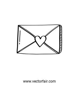 envelope with heart love doodle style icon