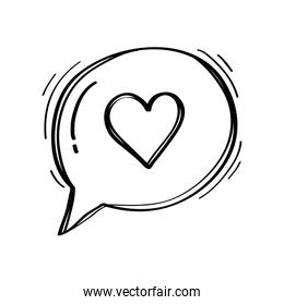 speech bubble with heart social media doodle style icon