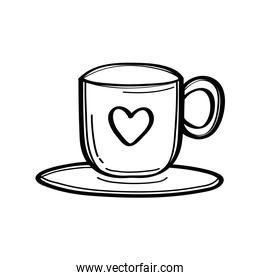 coffee cup with heart doodle style icon