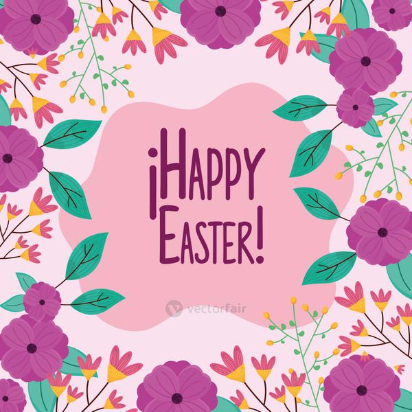 happy easter lettering with floral square frame