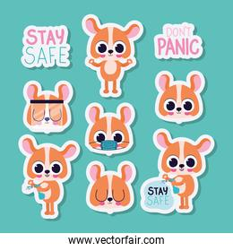 bundle of cute dogs stickers on a green background