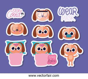 bundle of cute doggys stickers on a purple background