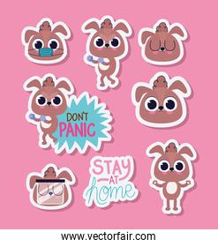 bundle of cute puppys stickers on a pink background
