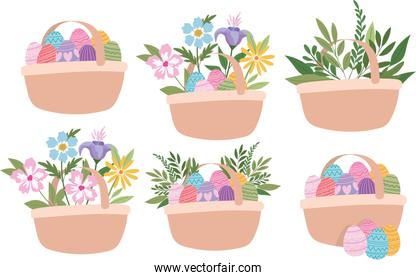 baskets full of easter eggs, flowers and green plants