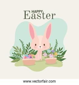 happy easter lettering with one cute pink bunny and one basket full of easter eggs
