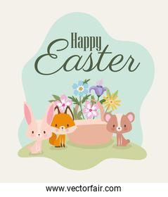 happy easter lettering with one cute pink bunny, fox, bear and one basket full of flowers