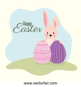happy easter lettering and cute bonny with two easter eggs