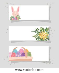 frames with one cute pink bunny, yellow flower and one basket full of easter eggs