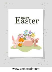 invitation with happy easter lettering,one cute pink bunny, fox, bear and one basket full of flowers