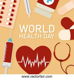 world health day lettering and healthy icons on a orange background