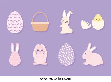 set of easter icons on a purple background