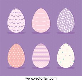 set of easter eggs on a purple background