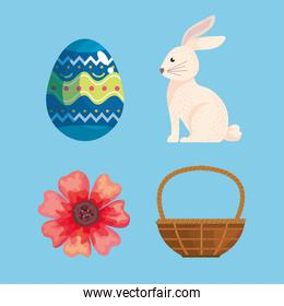 bundle of four happy easter celebration icons