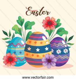 happy easter celebration card with eggs painted and flowers