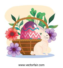 happy easter celebration card with egg painted in basket and cute rabbit