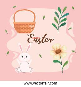 bundle of four happy easter set icons and lettering