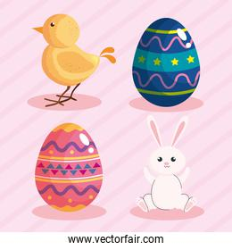 happy easter celebration card with eggs painted and animals