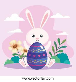 happy easter celebration egg painted with rabbit in garden