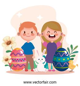 happy easter celebration card with eggs and little kids couple