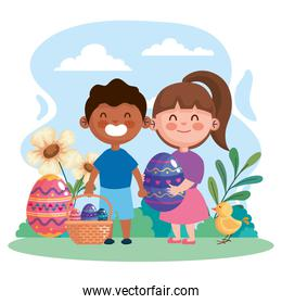 happy easter celebration card with eggs and interracial little kids couple