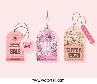 sale spring season deals tags hanging in pink background