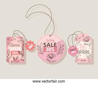 sale spring season deals commercial tags hanging
