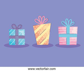 gifts boxes presents acuarela birthday icons