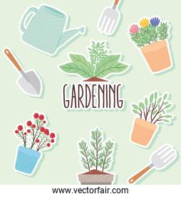 bundle of gardening tools and houseplants with lettering