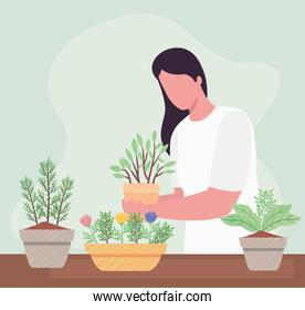 woman with houseplants gardening activity character