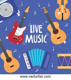 live music lettering with musical instruments pattern