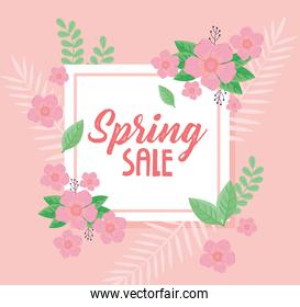 spring sale lettering with pink flowers in square frame