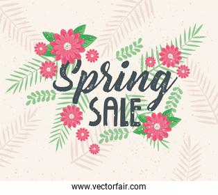 spring sale lettering with red flowers garden
