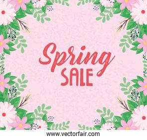 spring sale lettering with pink flowers frame
